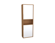 62014 - Integra Narrow Tall Unit, 50 cm, White High Gloss & Bamboo, left