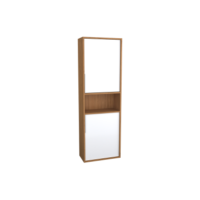 Integra Narrow Tall Unit, 50 cm, White High Gloss & Bamboo, left