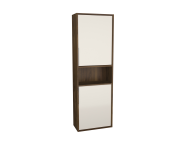 62015 - Integra Narrow Tall Unit, 50 cm, Cashmere & Narrowk Walnut, left
