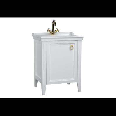Valarte Washbasin Unit, 65 cm, with doors, with vanity washbasin,one faucet hole, Matte White, left
