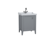 62151 - Valarte Washbasin Unit, 65 cm, with doors, with vanity washbasin, one faucet hole, Matte Grey, left