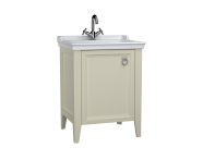 62152 - Valarte Washbasin Unit, 65 cm, with doors, with vanity washbasin, one faucet hole, Matte Ivory, left