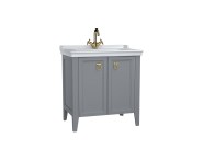 62154 - Valarte Washbasin Unit, 80 cm, with doors, with vanity washbasin, one faucet hole, Matte Grey