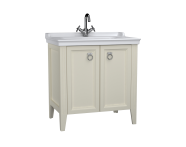 62155 - Valarte Washbasin Unit, 80 cm, with doors, with vanity washbasin, one faucet hole, Matte Ivory