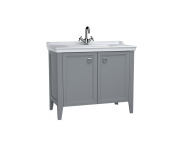 62157 - Valarte Washbasin Unit, 100 cm, with doors, with vanity washbasin, one faucet hole, Matte Grey