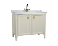 62158 - Valarte Washbasin Unit, 100 cm, with doors, with vanity washbasin, one faucet hole, Matte Ivory