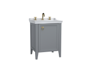 62160 - Valarte Washbasin Unit, 65 cm, with doors, with vanity washbasin, three faucet holes, Matte Grey,left