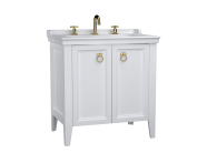 62162 - Valarte Washbasin Unit, 80 cm, with doors, with vanity washbasin, three faucet holes, Matte White