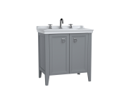 62163 - Valarte Washbasin Unit, 80 cm, with doors, with vanity washbasin, three faucet holes, Matte Grey