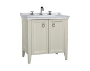 62164 - Valarte Washbasin Unit, 80 cm, with doors, with vanity washbasin, three faucet holes, Matte Ivory