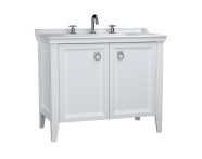 62165 - Valarte Washbasin Unit, 100 cm, with doors, with vanity washbasin, three faucet holes, Matte White
