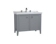 62166 - Valarte Washbasin Unit, 100 cm, with doors, with vanity washbasin, three faucet holes, Matte Grey