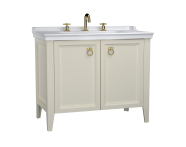62167 - Valarte Washbasin Unit, 100 cm, with doors, with vanity washbasin, three faucet holes, Matte Ivory