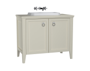 62173 - Valarte Washbasin Unit, 100 cm, with doors, with countertop washbasin, Matte Ivory