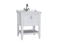 62177 - Valarte Washbasin Unit, 65 cm, with drawers, with vanity washbasin, one faucet hole, Matte White