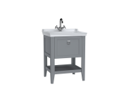 62178 - Valarte Washbasin Unit, 65 cm, with drawers, with vanity washbasin, one faucet hole, Matte Grey