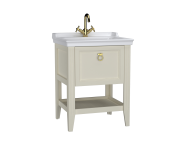 62179 - Valarte Washbasin Unit, 65 cm, with drawers, with vanity washbasin, one faucet hole, Matte Ivory