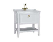 62180 - Valarte Washbasin Unit, 80 cm, with drawers, with vanity washbasin, one faucet hole, Matte White