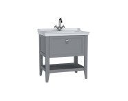 62181 - Valarte Washbasin Unit, 80 cm, with drawers, with vanity washbasin, one faucet hole, Matte Grey