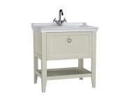 62182 - Valarte Washbasin Unit, 80 cm, with drawers, with vanity washbasin, one faucet hole, Matte Ivory