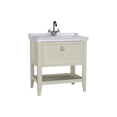 Valarte Washbasin Unit, 80 cm, with drawers, with vanity washbasin, one faucet hole, Matte Ivory
