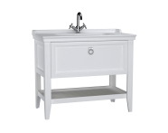 62183 - Valarte Washbasin Unit, 100 cm, with drawers, with vanity washbasin, one faucet hole, Matte White