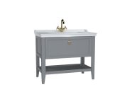 62184 - Valarte Washbasin Unit, 100 cm, with drawers, with vanity washbasin, one faucet hole, Matte Grey