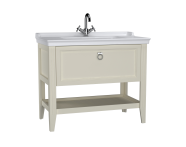 62185 - Valarte Washbasin Unit, 100 cm, with drawers, with vanity washbasin, one faucet hole, Matte Ivory