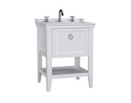 62186 - Valarte Washbasin Unit, 65 cm, with drawers, with vanity washbasin, three faucet holes, Matte White