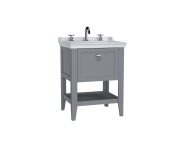 62187 - Valarte Washbasin Unit, 65 cm, with drawers, with vanity washbasin, three faucet holes, Matte Grey