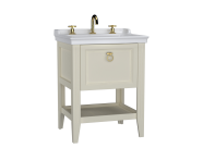 62188 - Valarte Washbasin Unit, 65 cm, with drawers, with vanity washbasin, three faucet holes, Matte Ivory