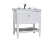 62189 - Valarte Washbasin Unit, 80 cm, with drawers, with vanity washbasin, three faucet holes, Matte White
