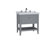62190 - Valarte Washbasin Unit, 80 cm, with drawers, with vanity washbasin, three faucet holes, Matte Grey