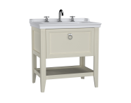 62191 - Valarte Washbasin Unit, 80 cm, with drawers, with vanity washbasin, three faucet holes, Matte Ivory