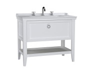 62192 - Valarte Washbasin Unit, 100 cm, with drawers, with vanity washbasin, three faucet holes, Matte White