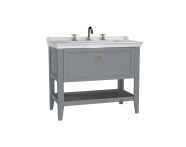 62193 - Valarte Washbasin Unit, 100 cm, with drawers, with vanity washbasin, three faucet holes, Matte Grey