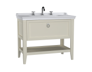62194 - Valarte Washbasin Unit, 100 cm, with drawers, with vanity washbasin, three faucet holes, Matte Ivory
