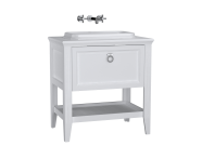 62195 - Valarte Washbasin Unit, 80 cm, with drawers, with countertop washbasin, Matte White