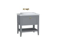 62196 - Valarte Washbasin Unit, 80 cm, with drawers, with countertop washbasin, Matte Grey