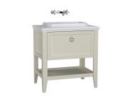 62197 - Valarte Washbasin Unit, 80 cm, with drawers, with countertop washbasin, Matte Ivory