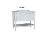 62198 - Valarte Washbasin Unit, 100 cm, with drawers, with countertop washbasin, Matte White
