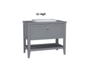 62199 - Valarte Washbasin Unit, 100 cm, with drawers, with countertop washbasin, Matte Grey