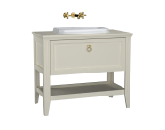 62200 - Valarte Washbasin Unit, 100 cm, with drawers, with countertop washbasin, Matte Ivory