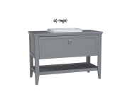 62202 - Valarte Washbasin Unit, 120 cm, with drawers, with countertop washbasin, Matte Grey