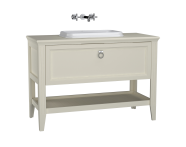 62203 - Valarte Washbasin Unit, 120 cm, with drawers, with countertop washbasin, Matte Ivory