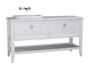 62204 - Valarte Washbasin Unit, 150 cm, 2 drawers, with countertop washbasin, Matte White, left