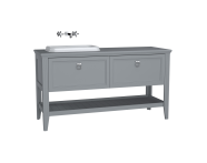 62205 - Valarte Washbasin Unit, 150 cm, 2 drawers, with countertop washbasin, Matte Grey, left