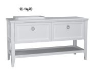 62206 - Valarte Washbasin Unit, 150 cm, 2 drawers, with countertop washbasin, Matte Ivory, left