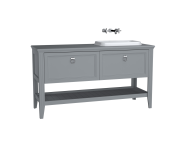 62208 - Valarte Washbasin Unit, 150 cm, 2 drawers, with countertop washbasin, Matte Grey, right