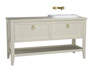 62209 - Valarte Washbasin Unit, 150 cm, 2 drawers, with countertop washbasin, Matte Ivory, right